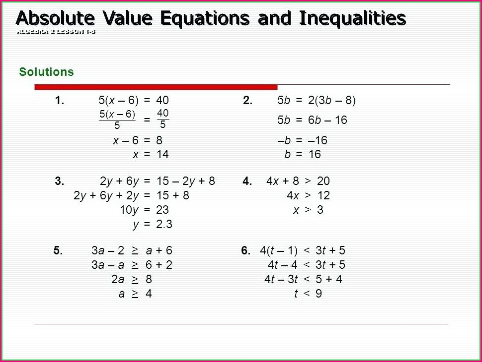 Solving Inequalities Worksheet Algebra 1