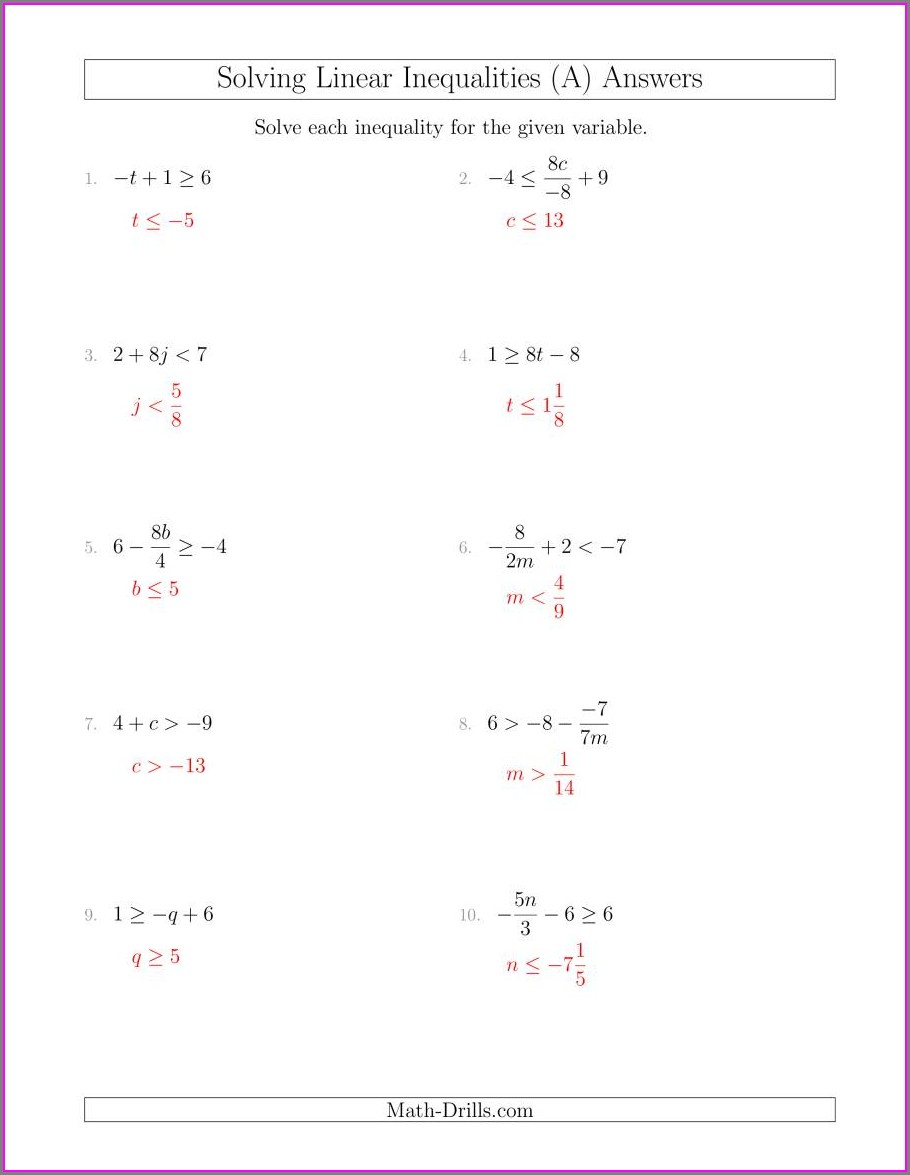 Solving Linear Inequalities Worksheet With Answers Pdf
