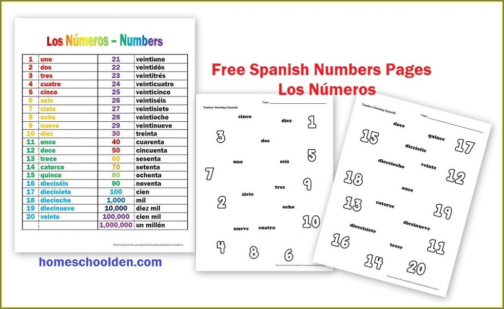 Spanish Numbers 1 Million Worksheet