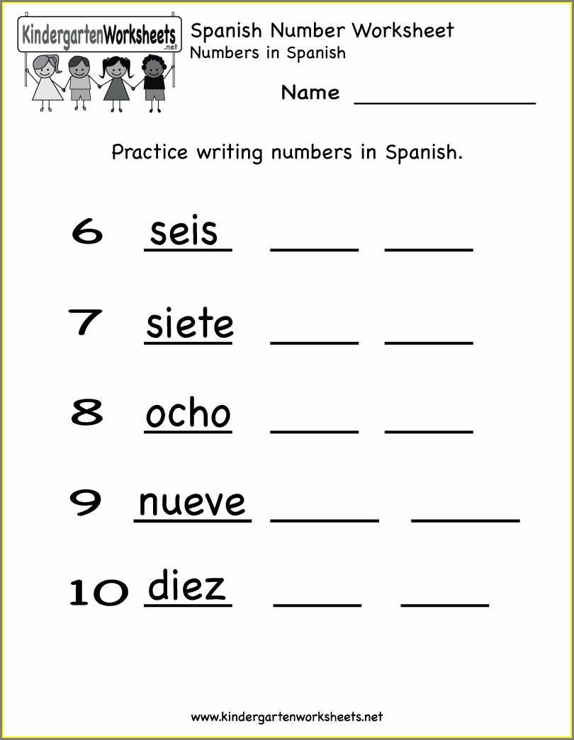 Spanish Numbers Math Worksheet