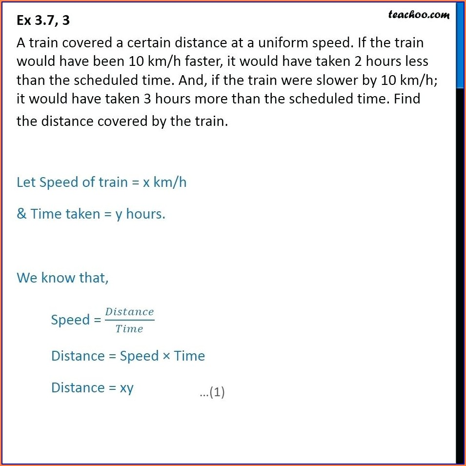 Speed Distance Time Word Problems Worksheet
