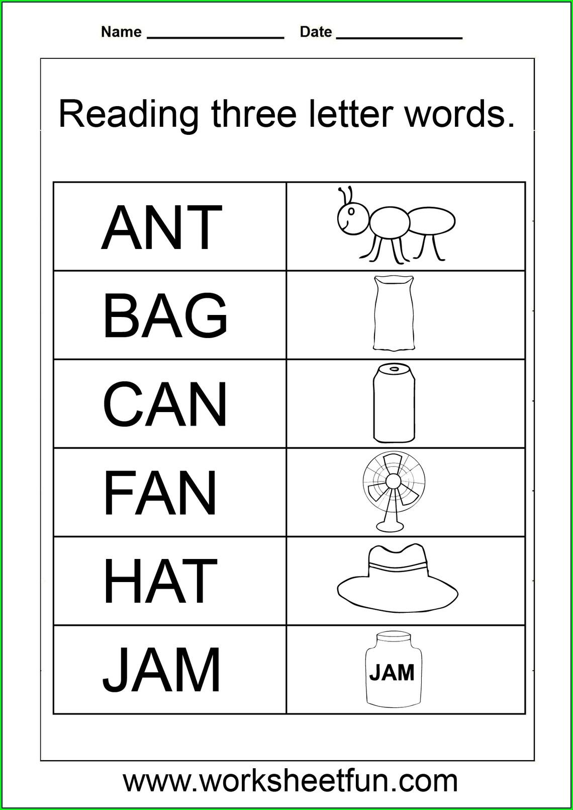 Spelling Words Worksheets For Kindergarten