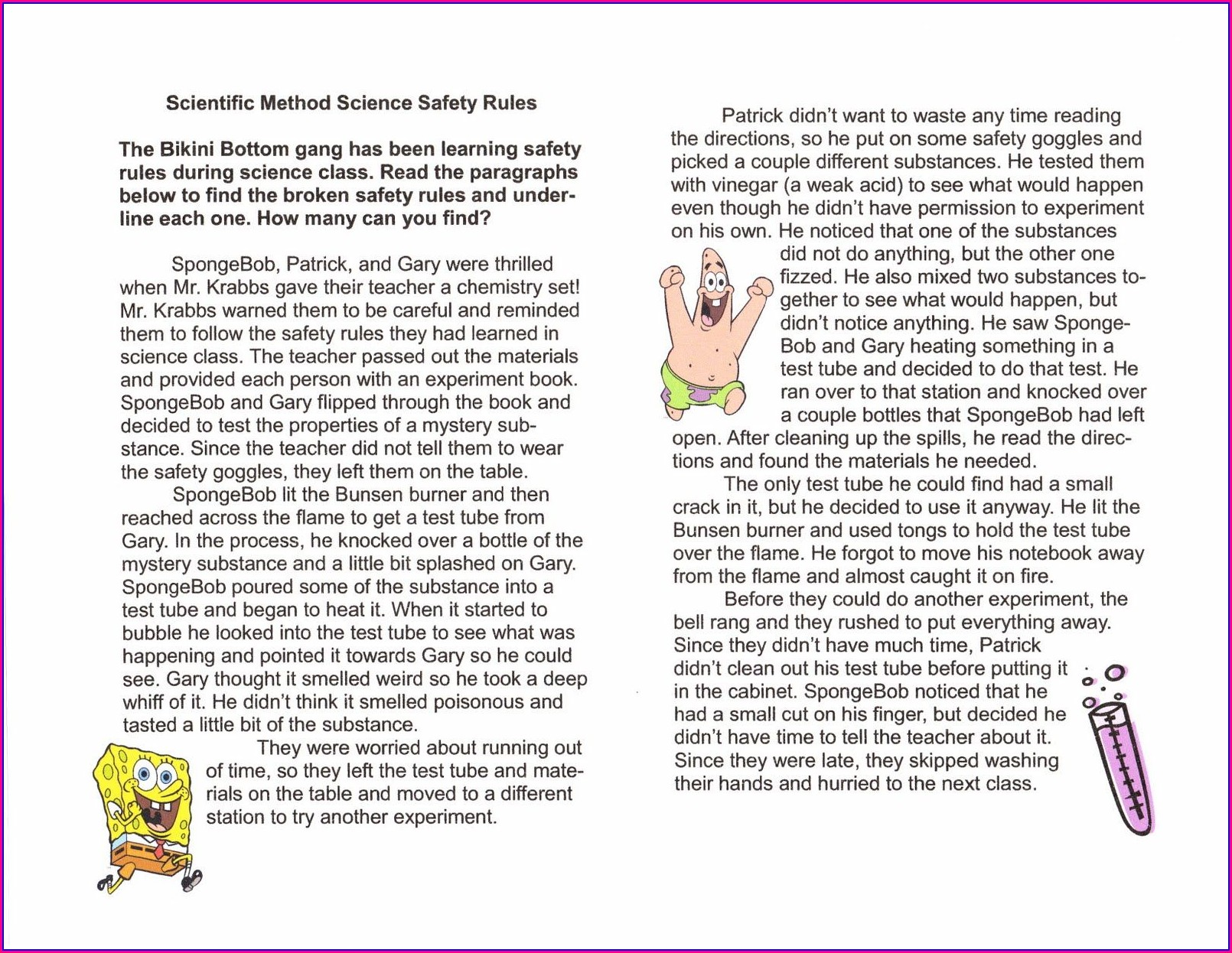 Spongebob Scientific Method Worksheet Answer Key