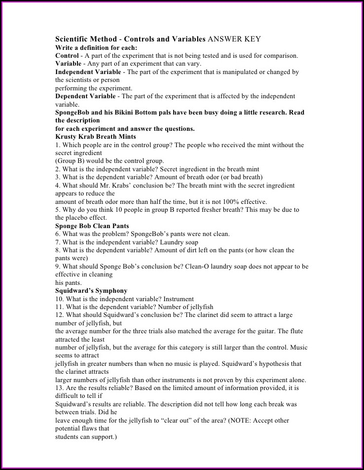Spongebob Scientific Method Worksheet Key