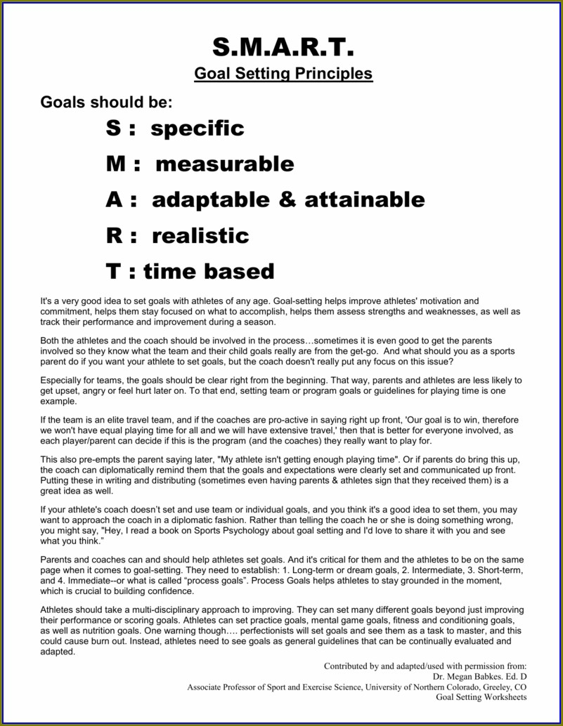 Sports Team Goal Setting Worksheet