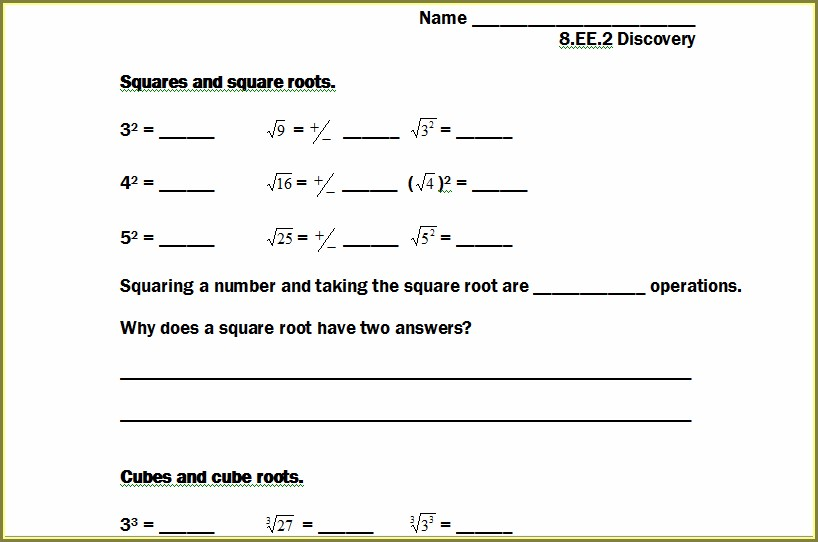Square Roots Of Rational Numbers Worksheet
