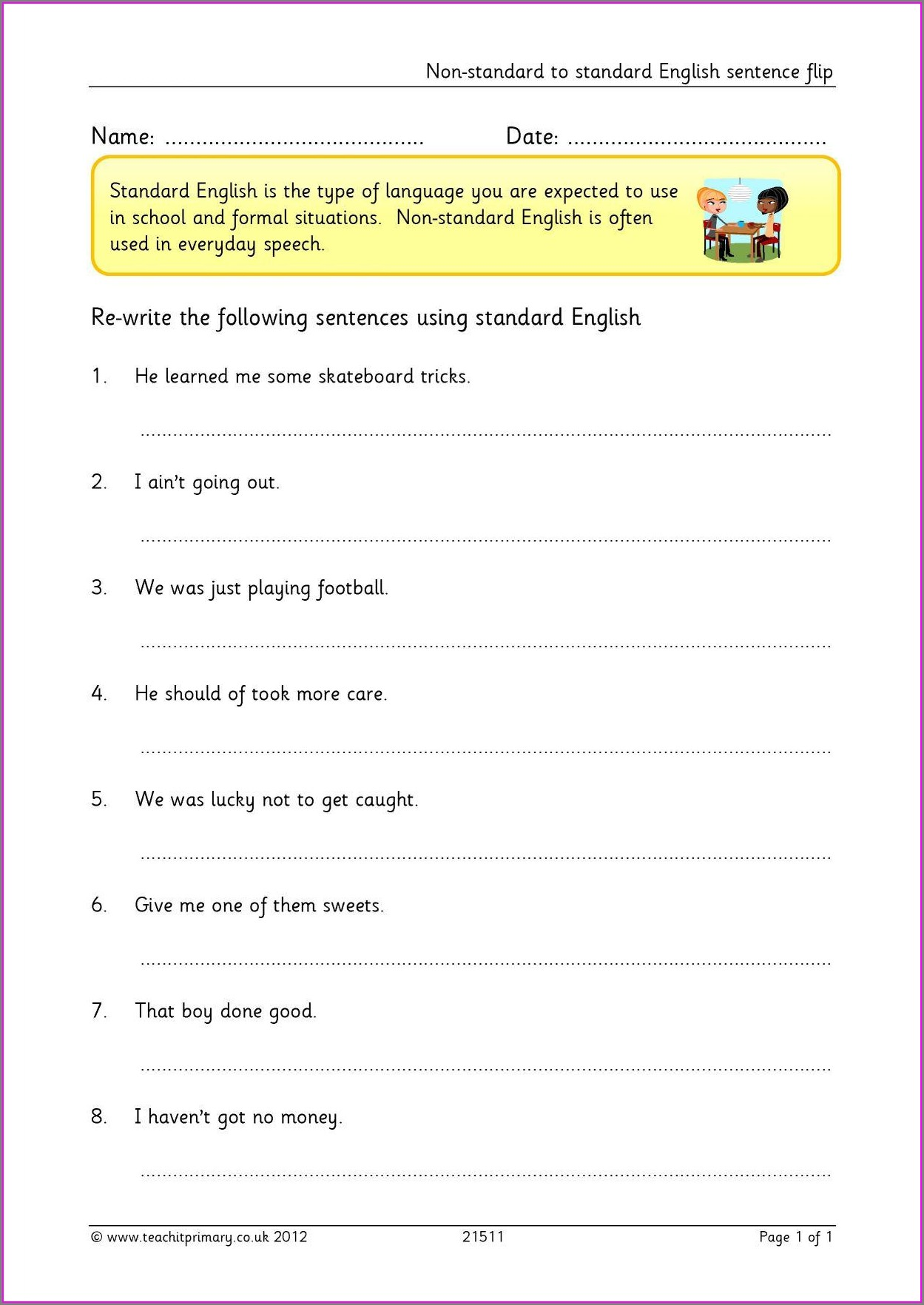 Standard English Worksheet Year 5