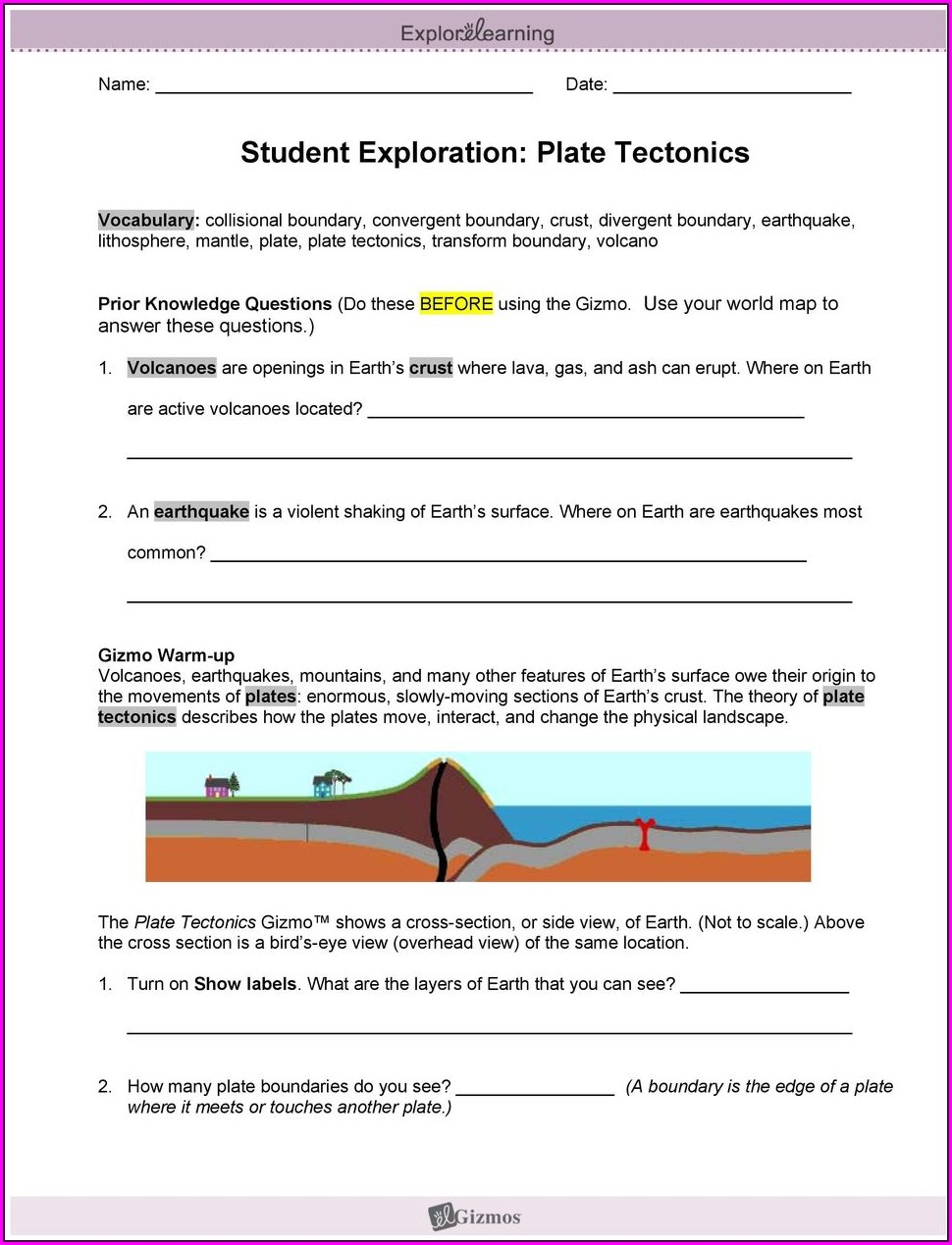 Student Exploration Plate Tectonics Worksheet Answers
