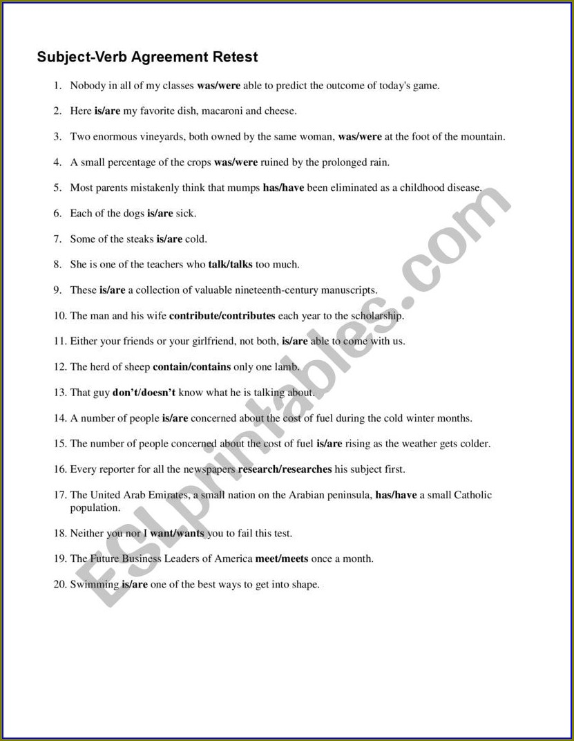 Subject Verb Agreement Difficult Exercises With Answers