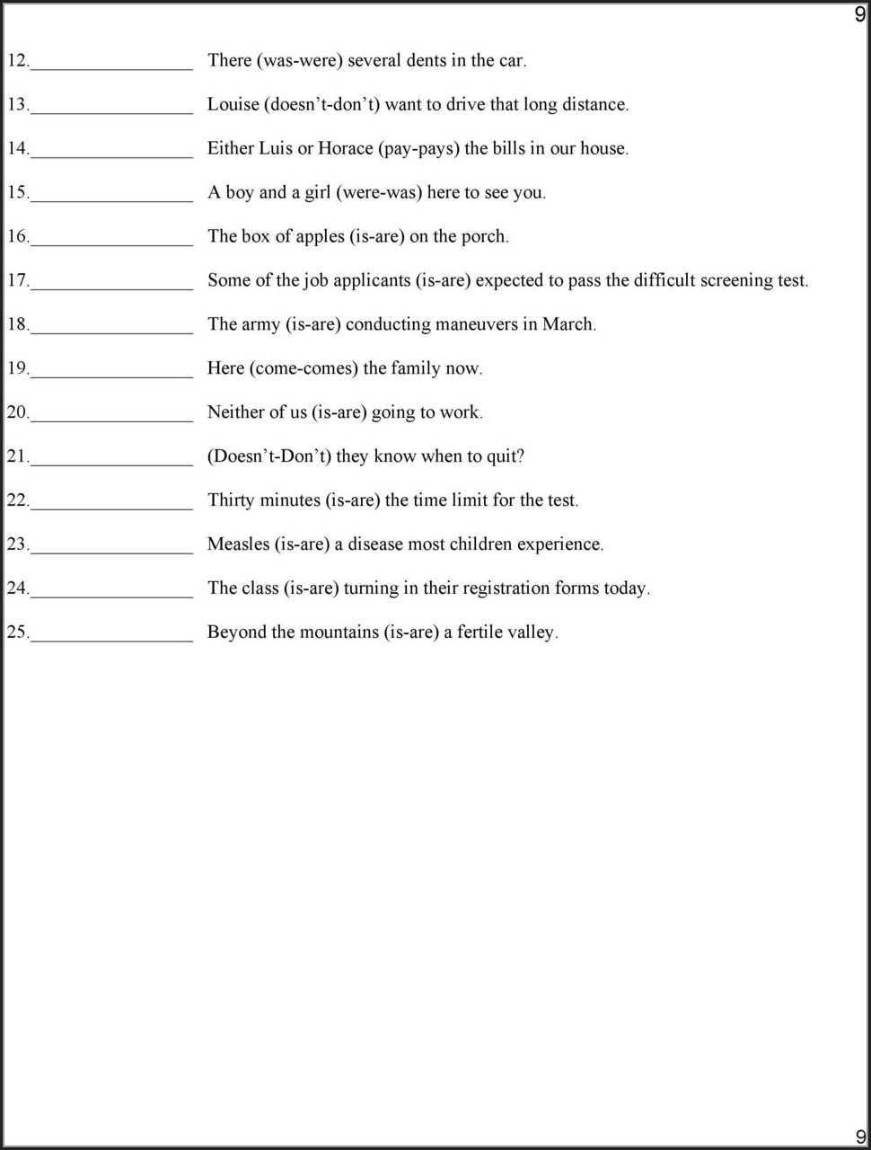 Subject Verb Agreement Exercises Advanced Learners