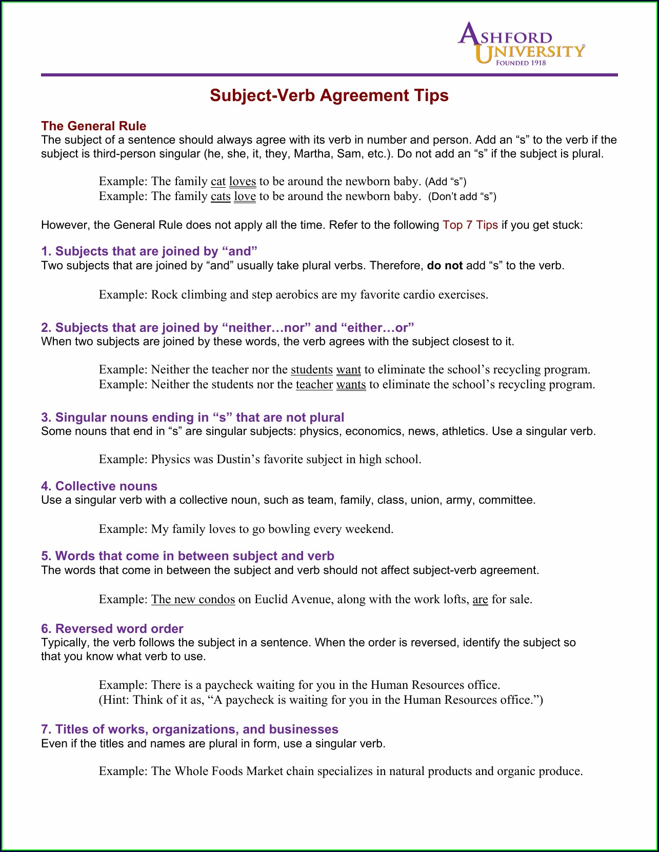 Subject Verb Agreement Exercises On Collective Nouns