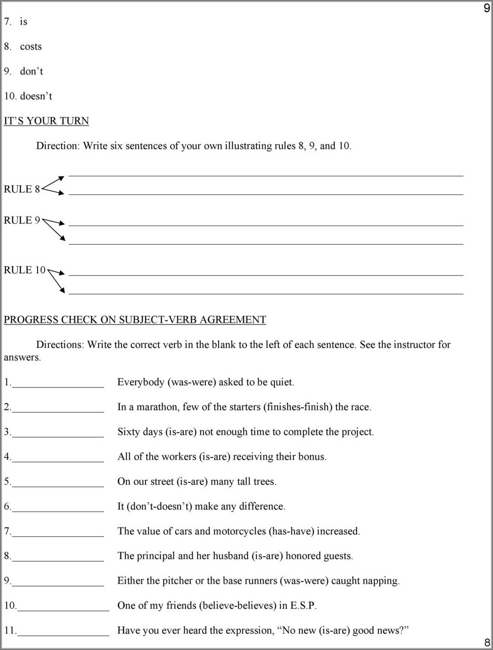 Subject Verb Agreement With Quantifiers Exercises Pdf