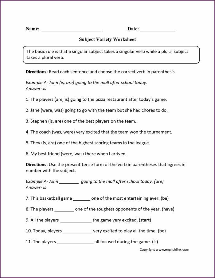 Subject Verb Agreement Worksheet 3 Key