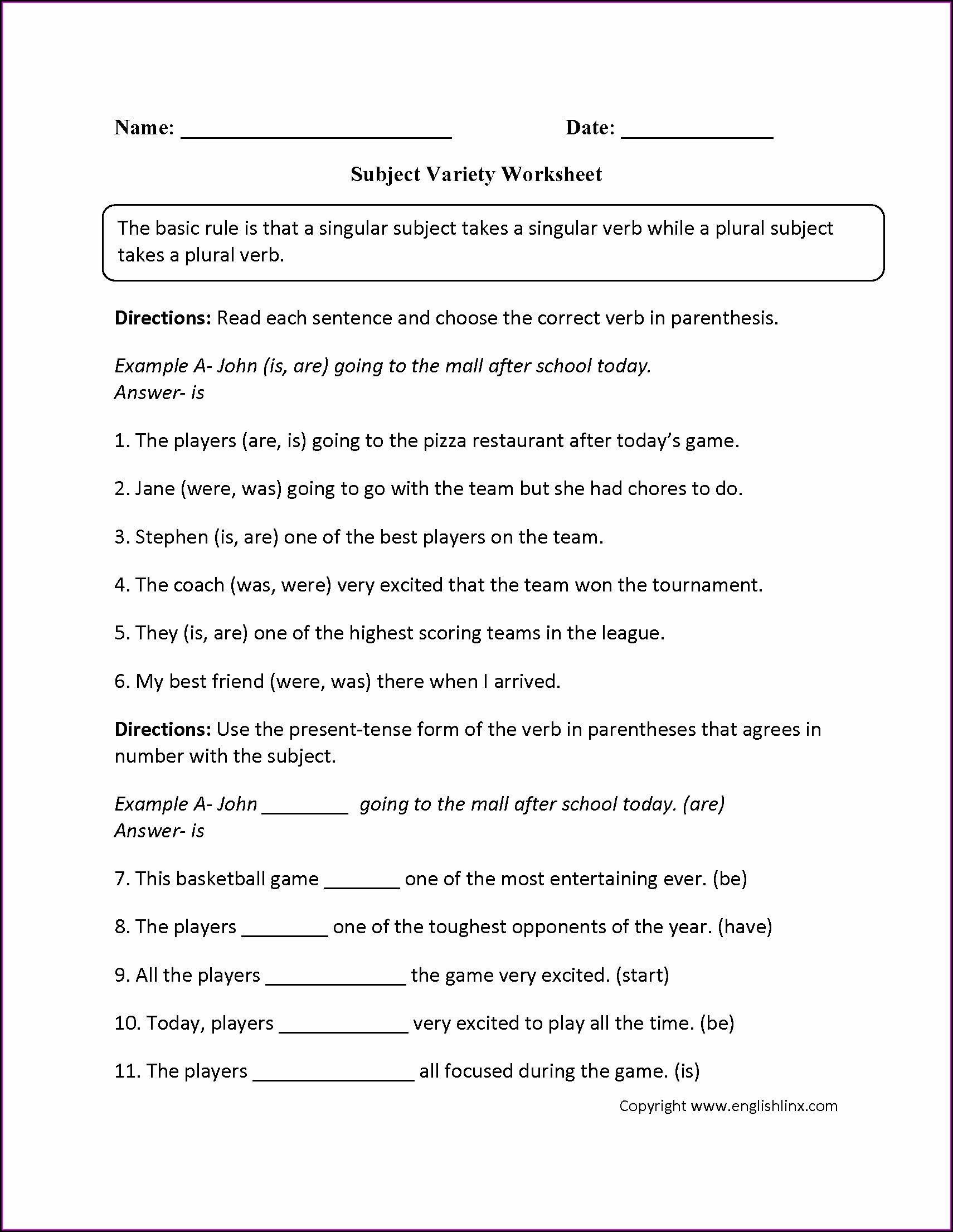 Subject Verb Agreement Worksheet 3 Key