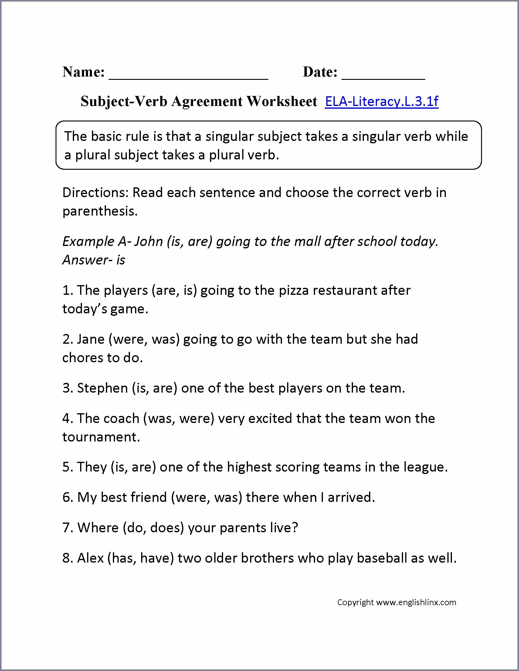 Subject Verb Agreement Worksheet 7th Grade