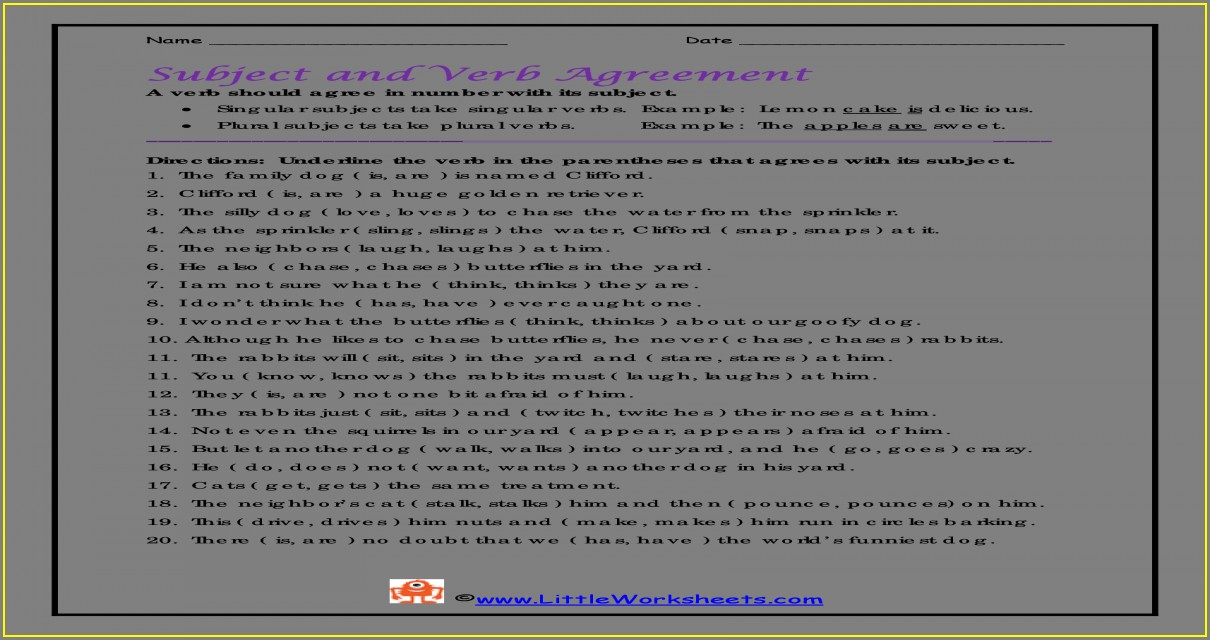Subject Verb Agreement Worksheet Pdf