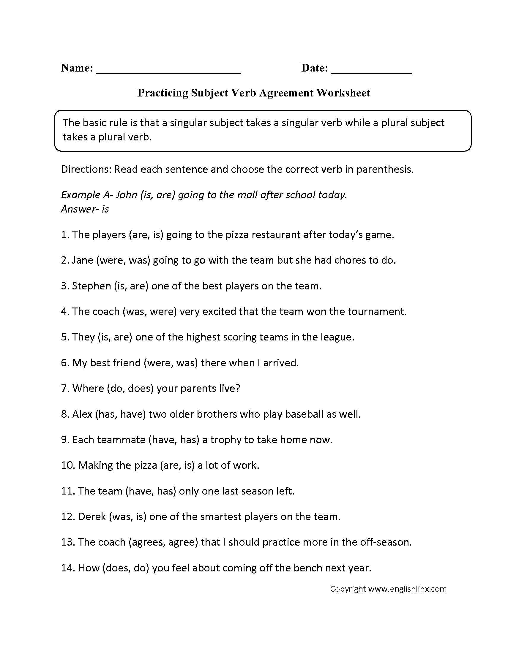 Subject Verb Agreement Worksheet With Answers Grade 4
