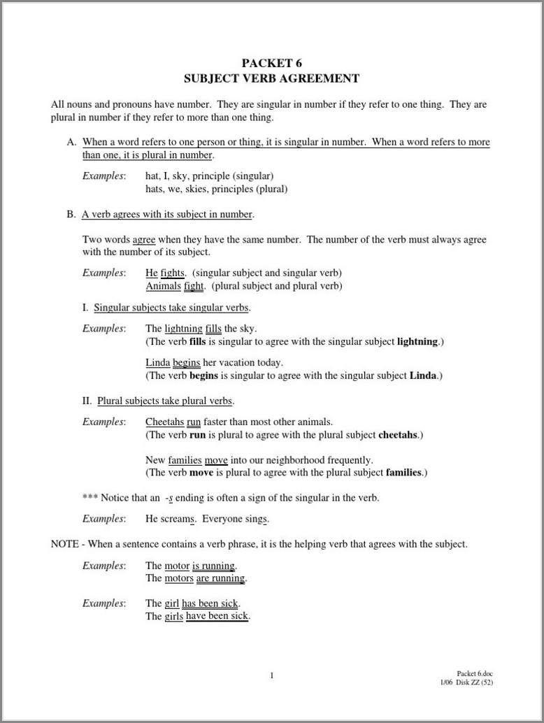 Subject Verb Agreement Worksheets Grade 7 Pdf