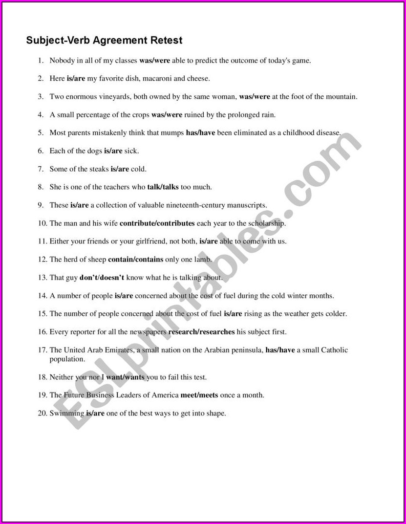 Subject Verb Agreement Worksheets Was Were