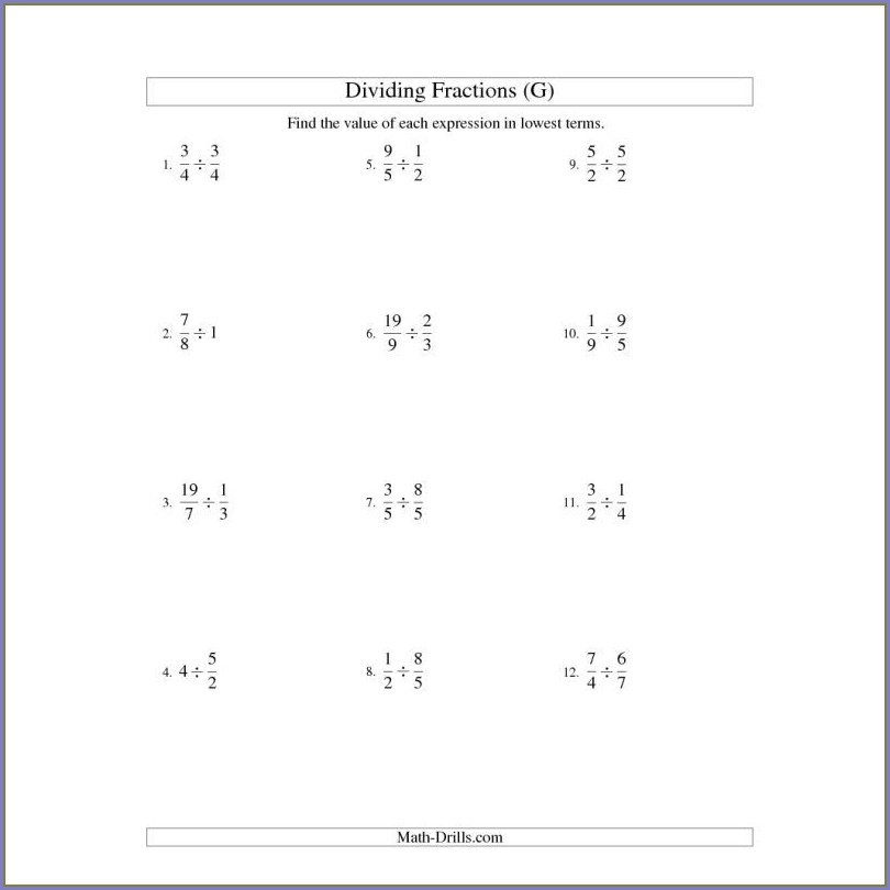Subtracting Fractions And Whole Numbers Worksheet