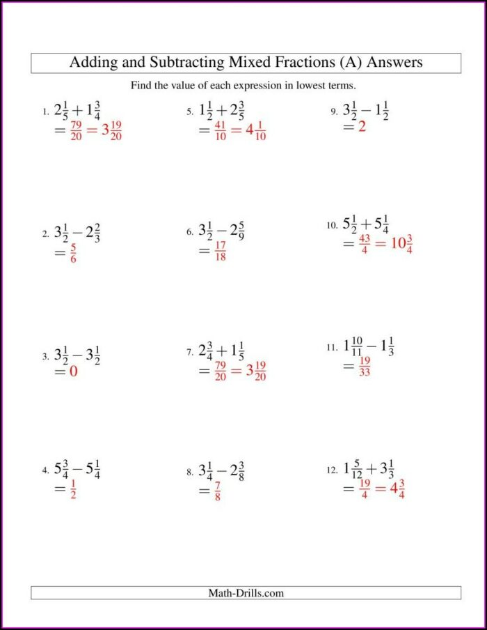 Subtracting Mixed Numbers With Like Denominators Worksheet No Regrouping