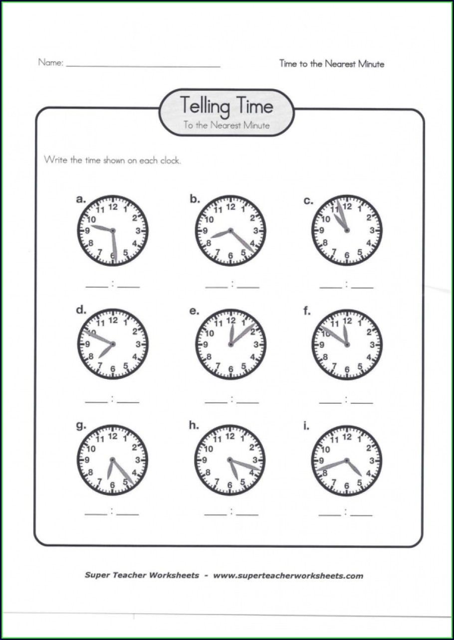 Super Teacher Worksheets Telling Time Answers