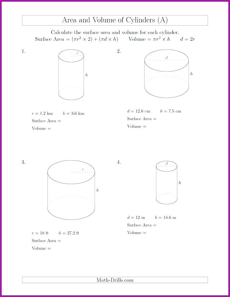 Surface Area Word Problems Worksheet