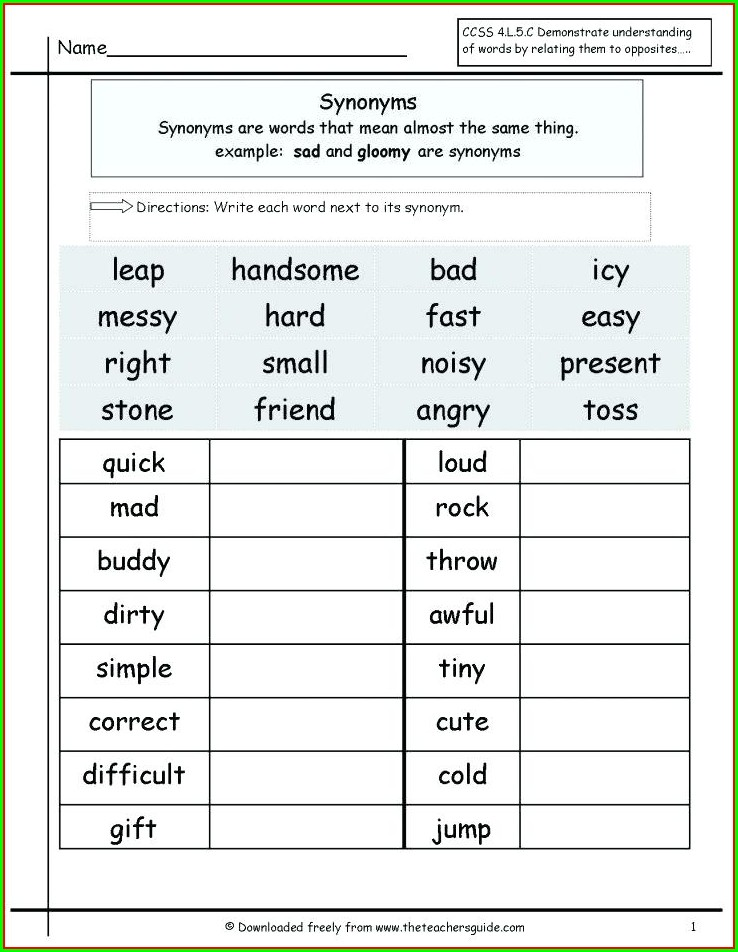 Synonyms Worksheet For Grade 5 Pdf