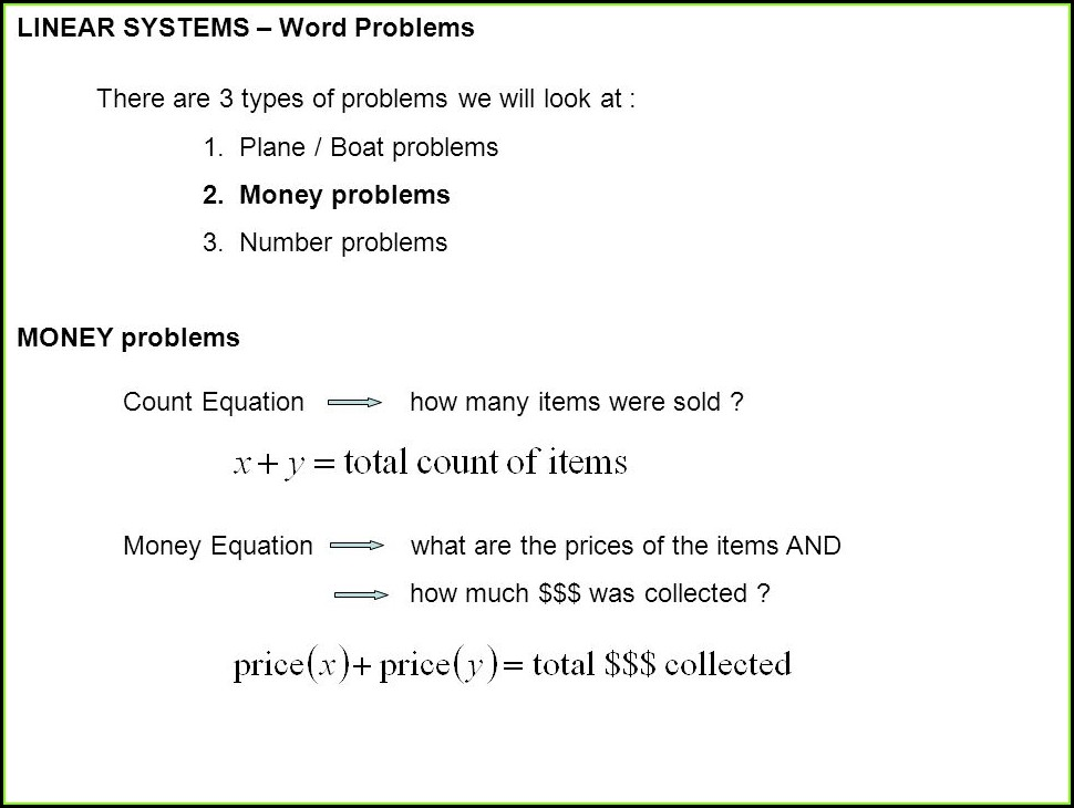 System Of Equations Word Problems Involving Money