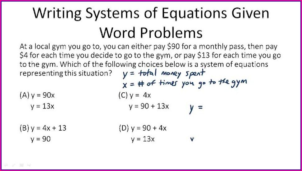 Systems Of Equations Word Problem Examples