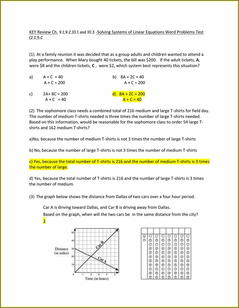 Systems Of Equations Word Problems By Graphing