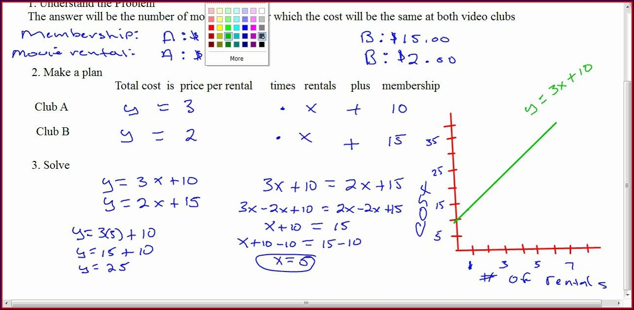 Systems Of Equations Word Problems For Graphing