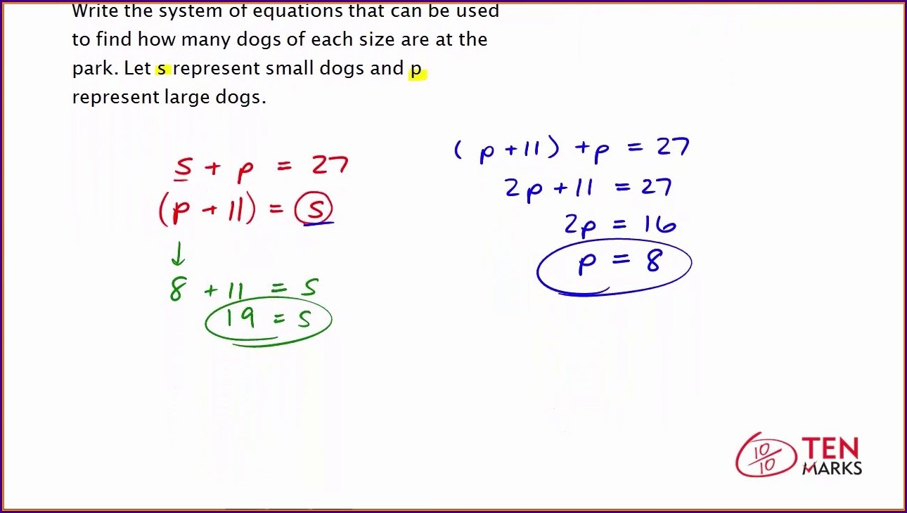 Systems Of Equations Word Problems Lesson Plan