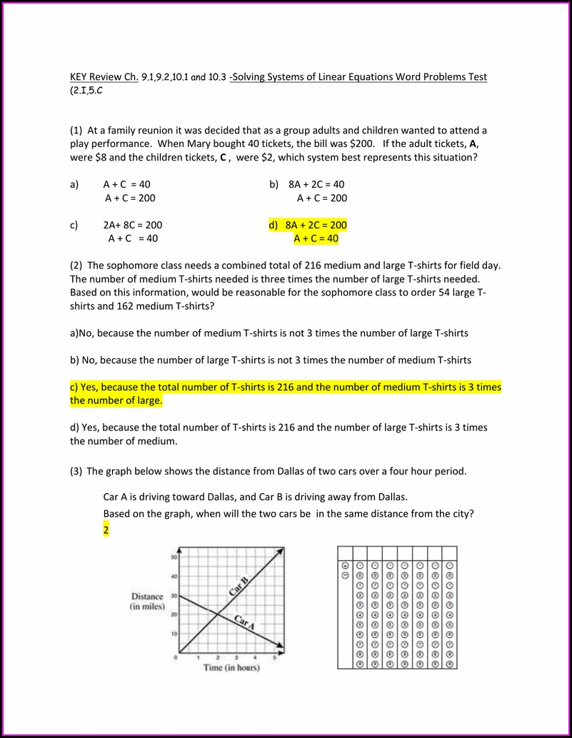 Systems Of Equations Word Problems Test