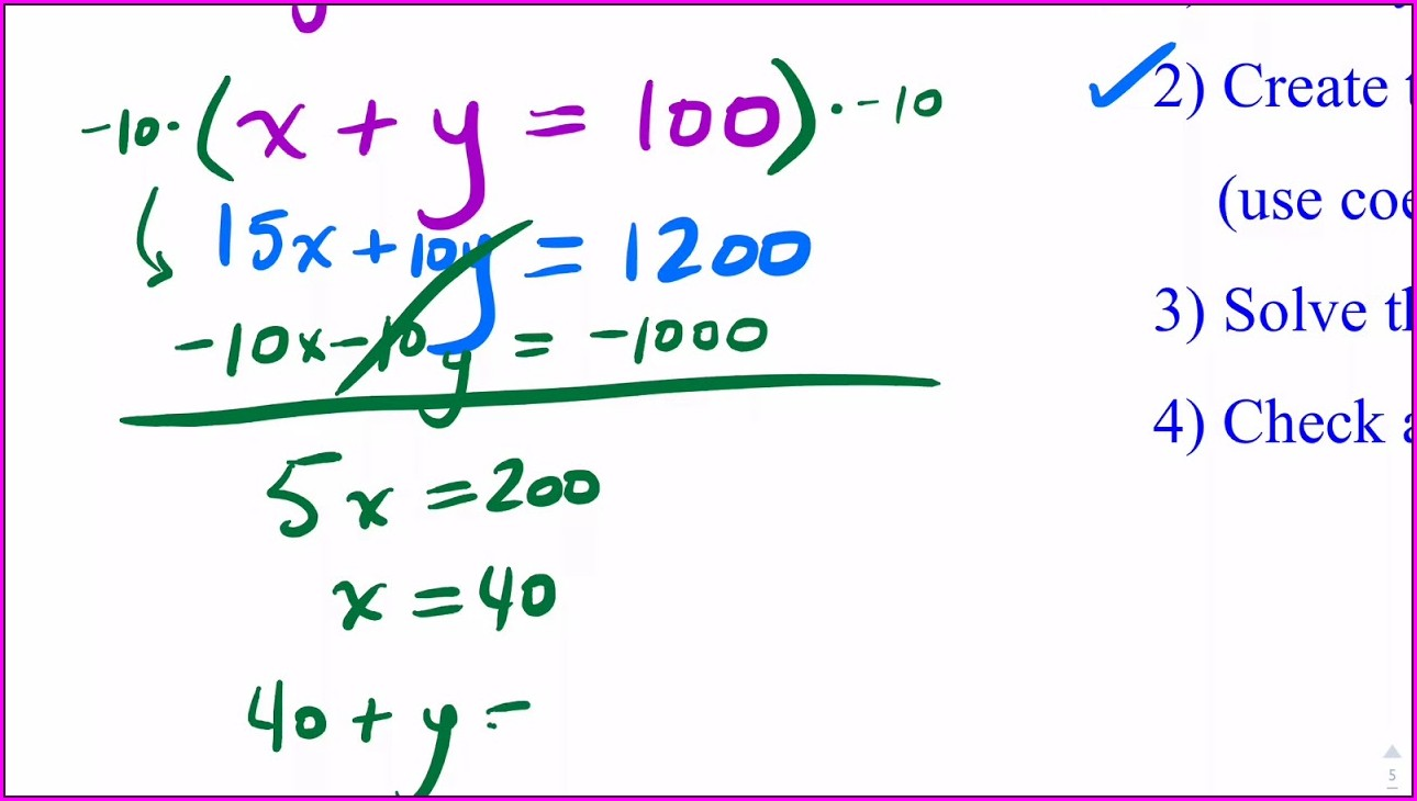 Systems Of Equations Word Problems With Money
