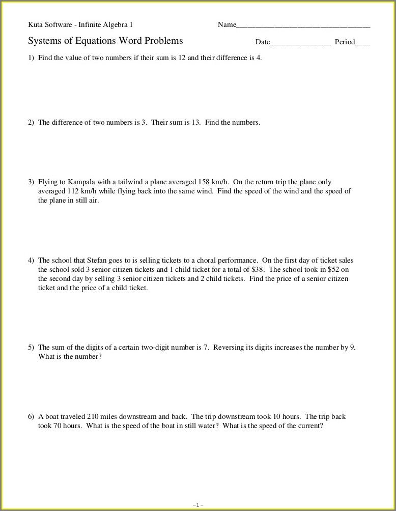 Systems Of Equations Word Problems With Speed
