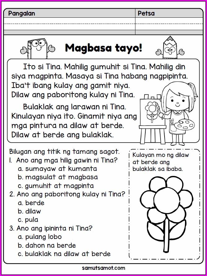 Tagalog Printable Grade 1 Reading Worksheets