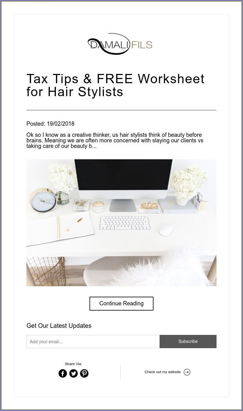 Tax Worksheet For Hair Stylist