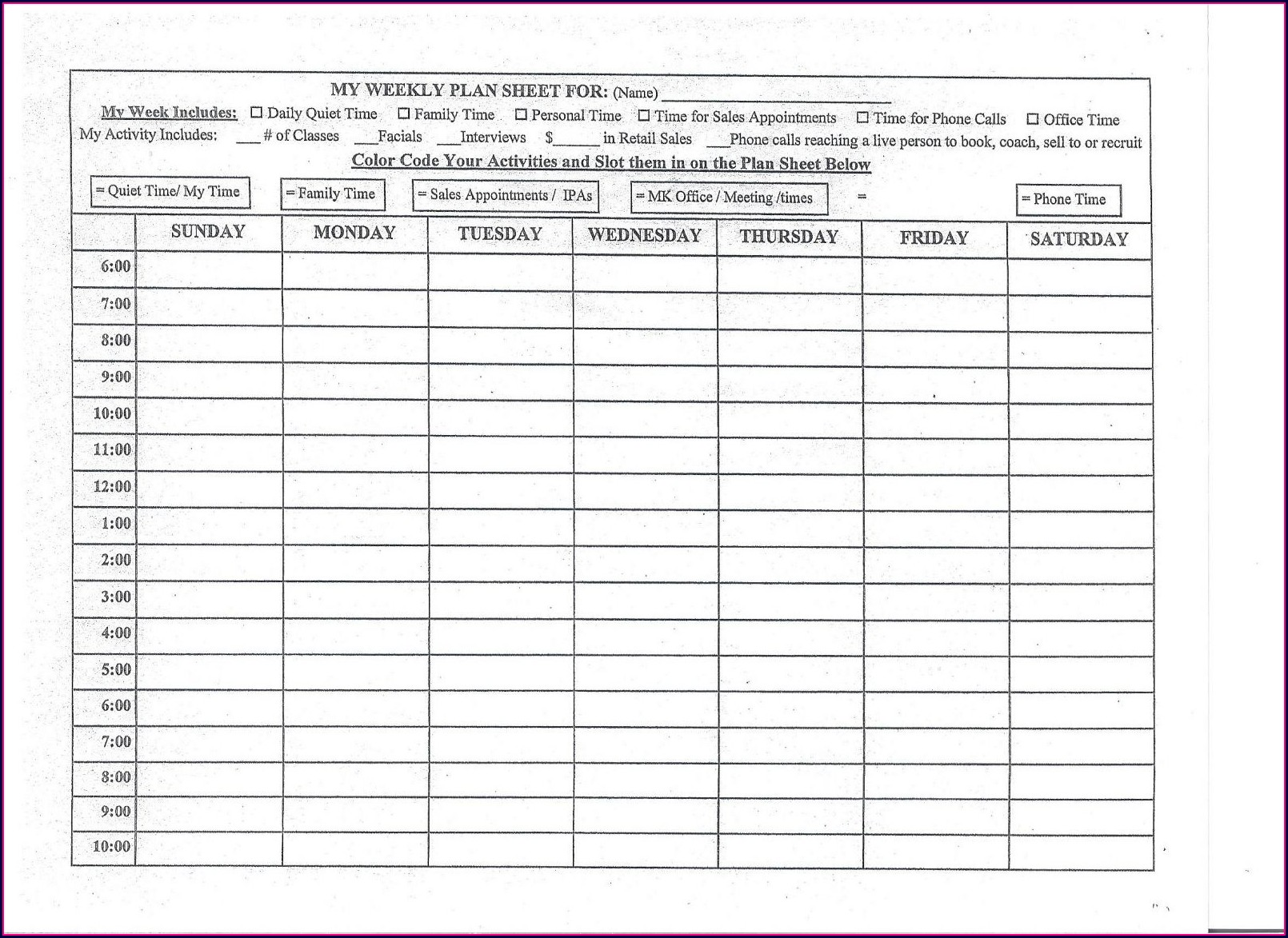 Tax Worksheet For Mary Kay