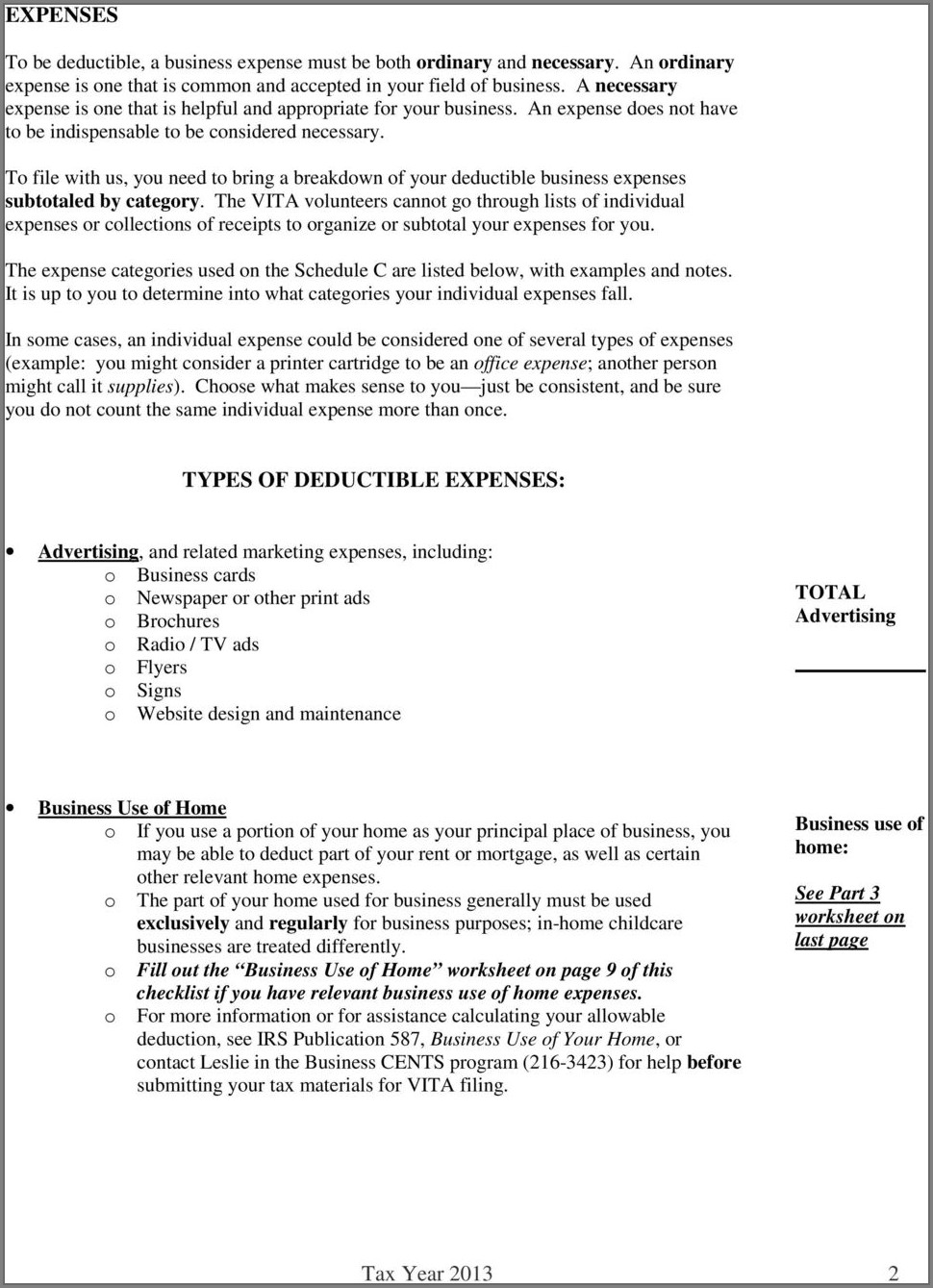 Tax Worksheet For Schedule C