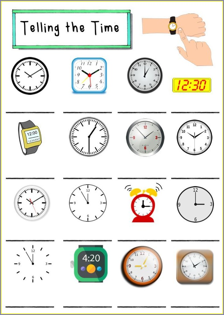 Telling The Time In English Worksheets