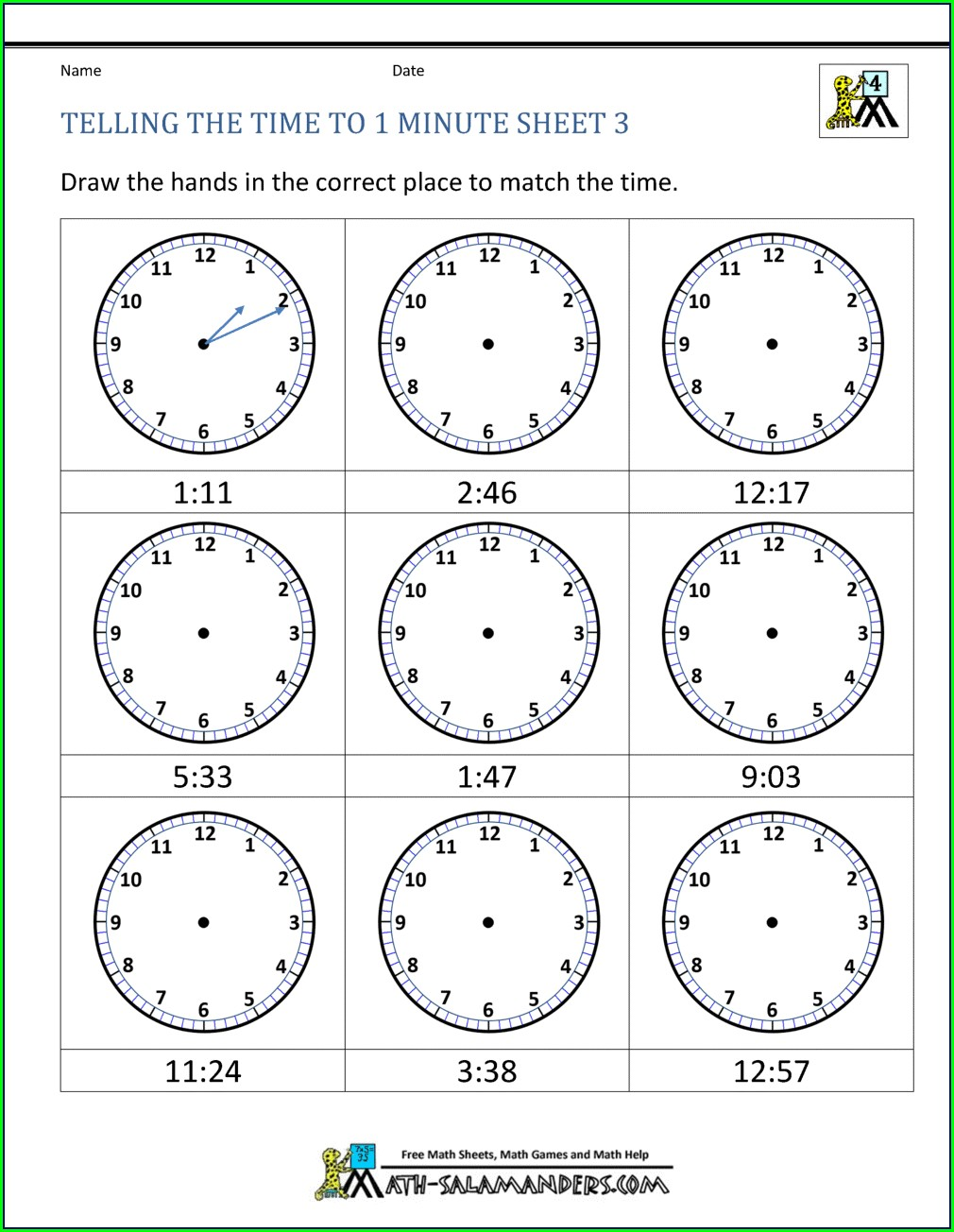 Telling Time 1 Minute Intervals Worksheets