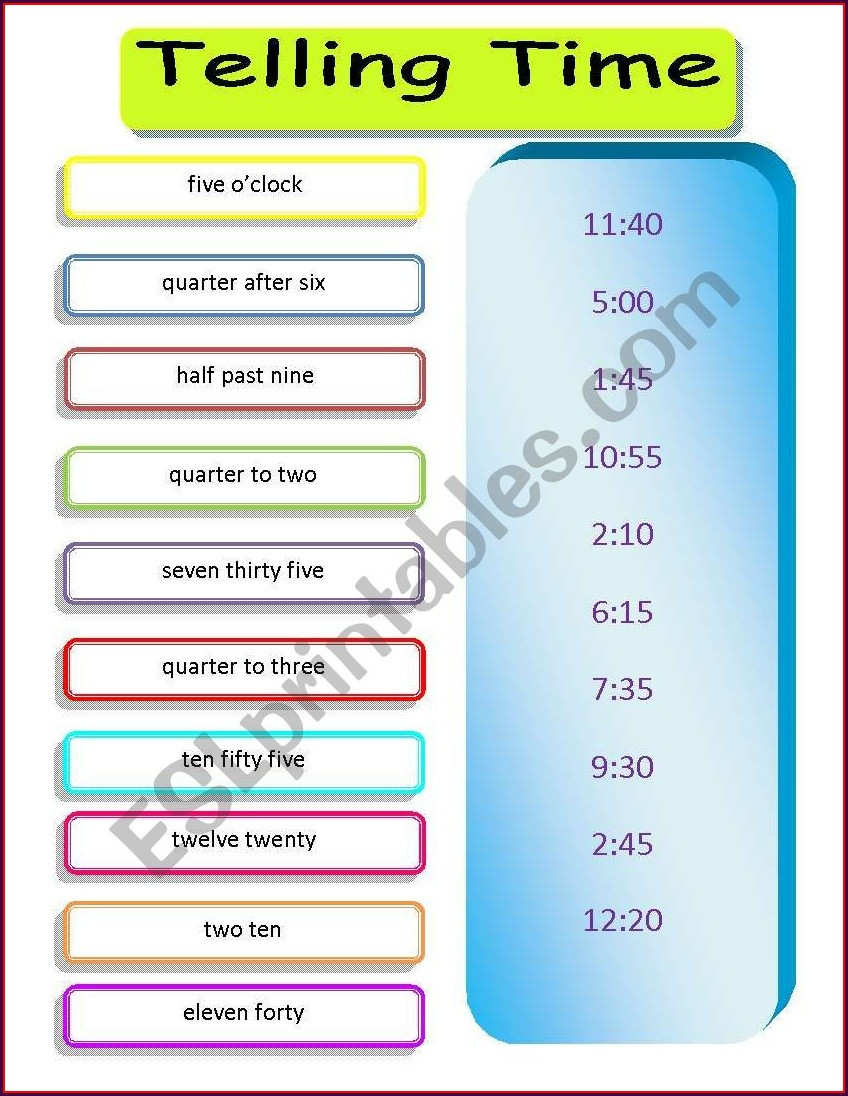 Telling Time 5 Minute Intervals Worksheet