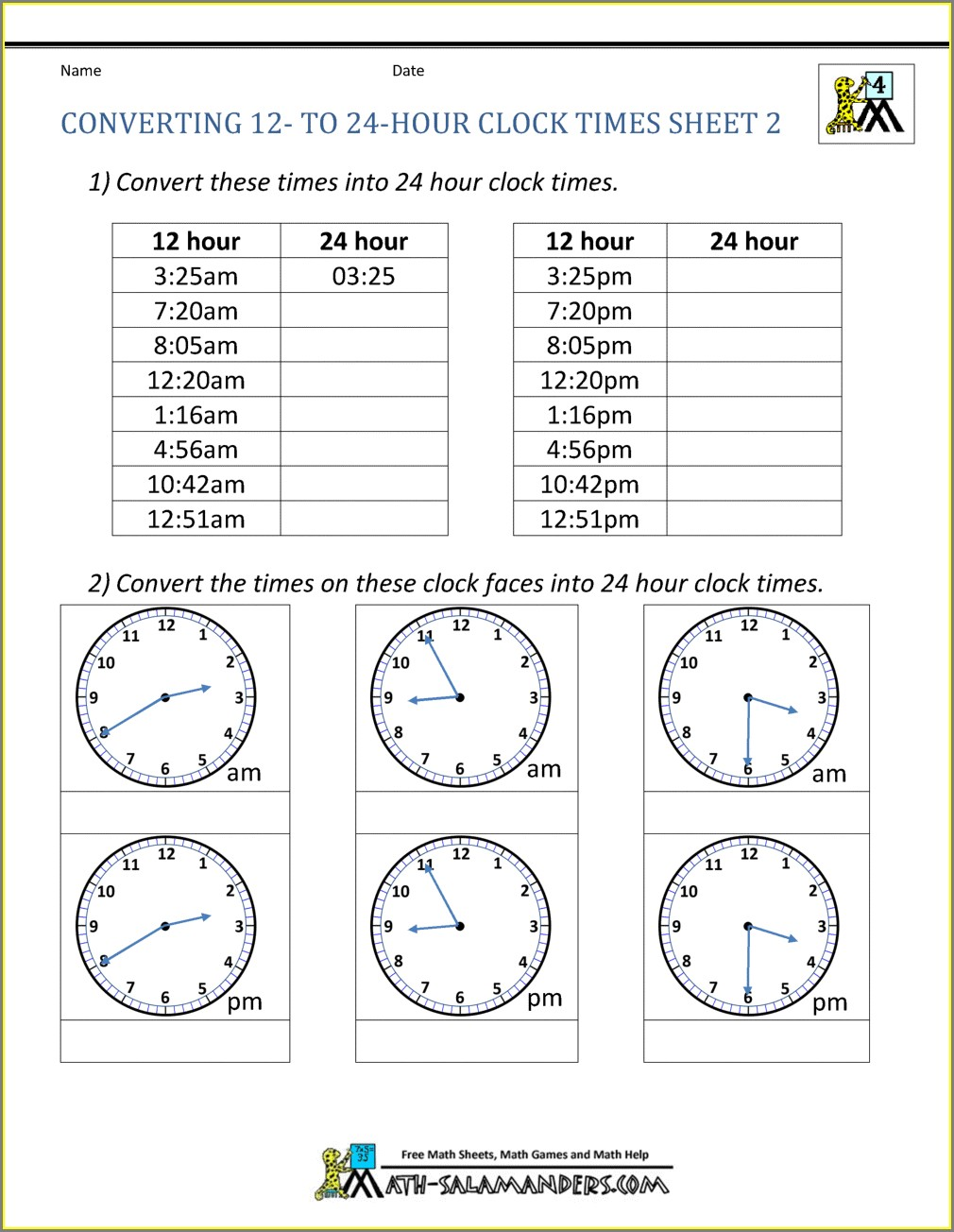 Telling Time Am And Pm Worksheets Pdf