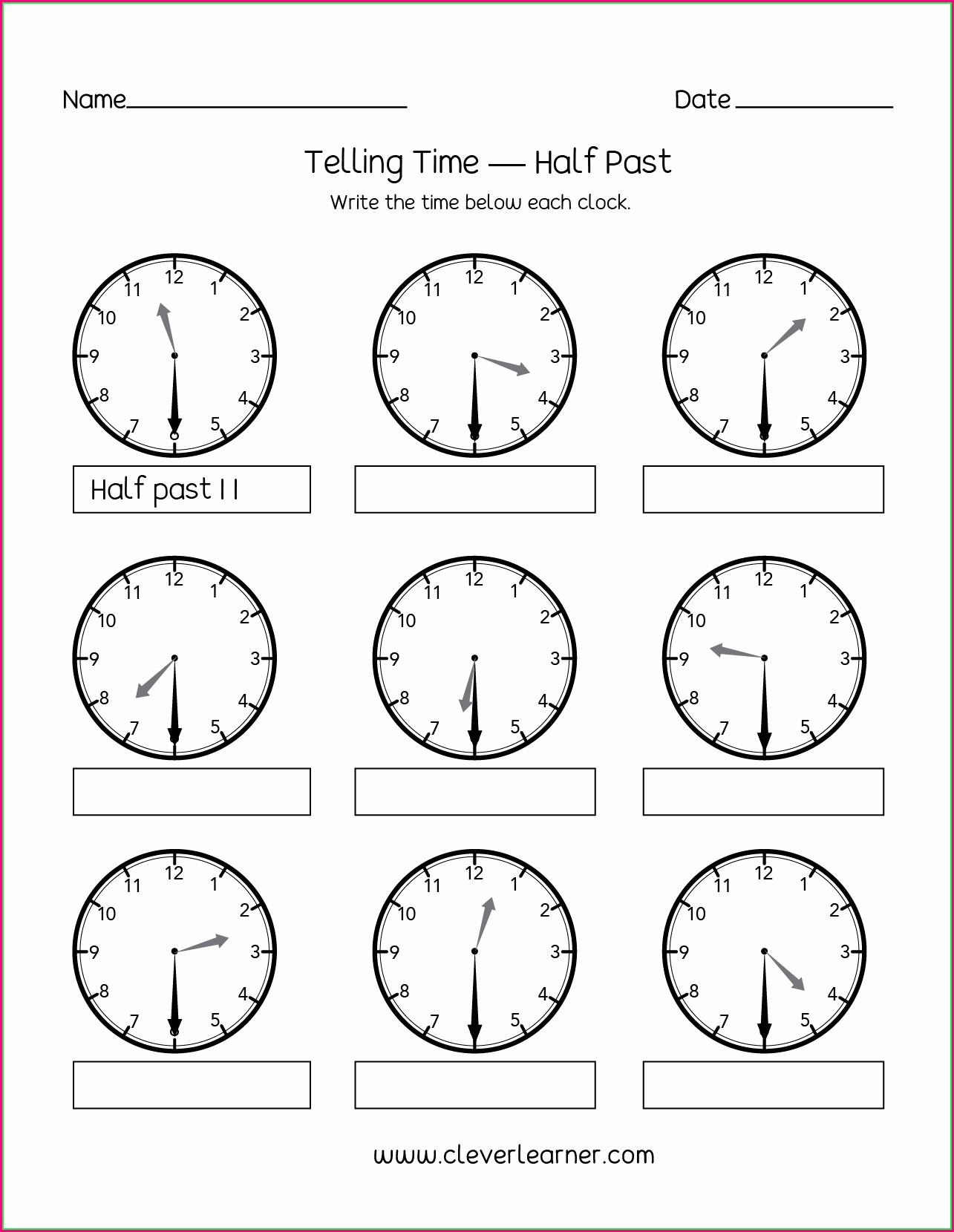 Telling Time By The Half Hour Worksheets For Kindergarten