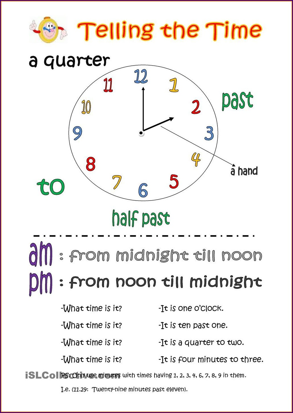 Telling Time Esl Worksheet