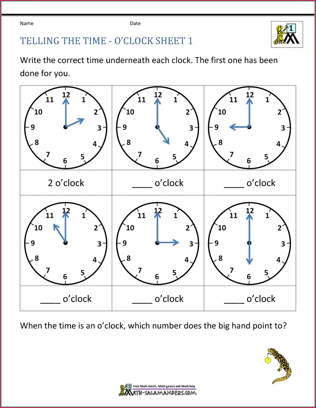 Telling Time Half Hour Worksheets 1st Grade