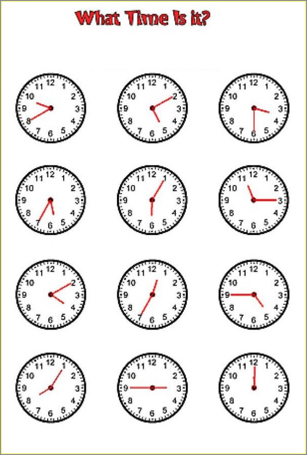 Telling Time In French Worksheets Pdf
