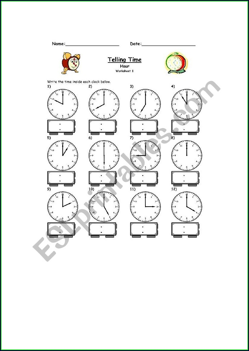 Telling Time O'clock Worksheet