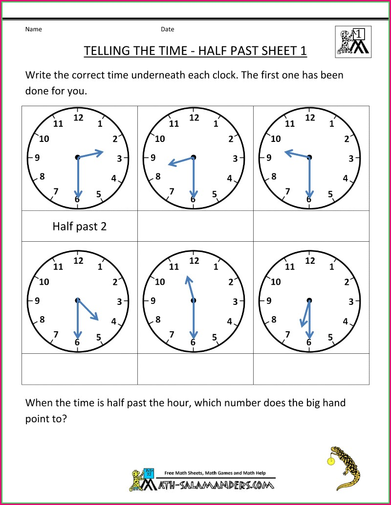 Telling Time To The Half Hour Worksheets Pdf